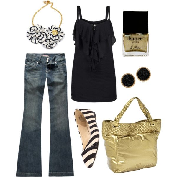 Outfit Totally Me Minus The Flats In 2019 Black Gold Jewelry
