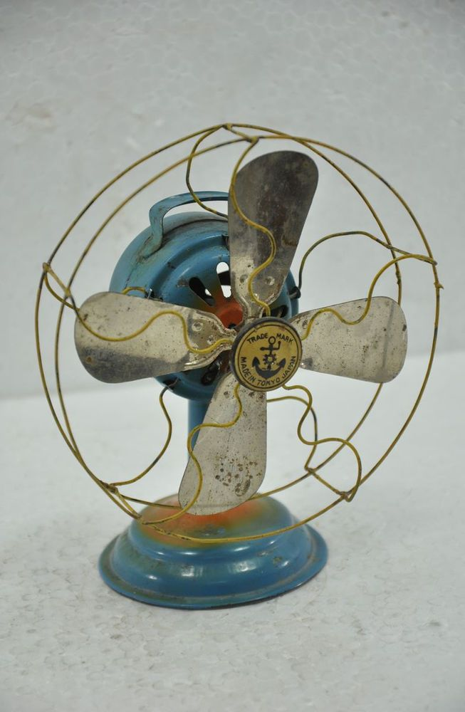 Vintage Windup Anchor Trademark Tin Toy Baby Table Fan An