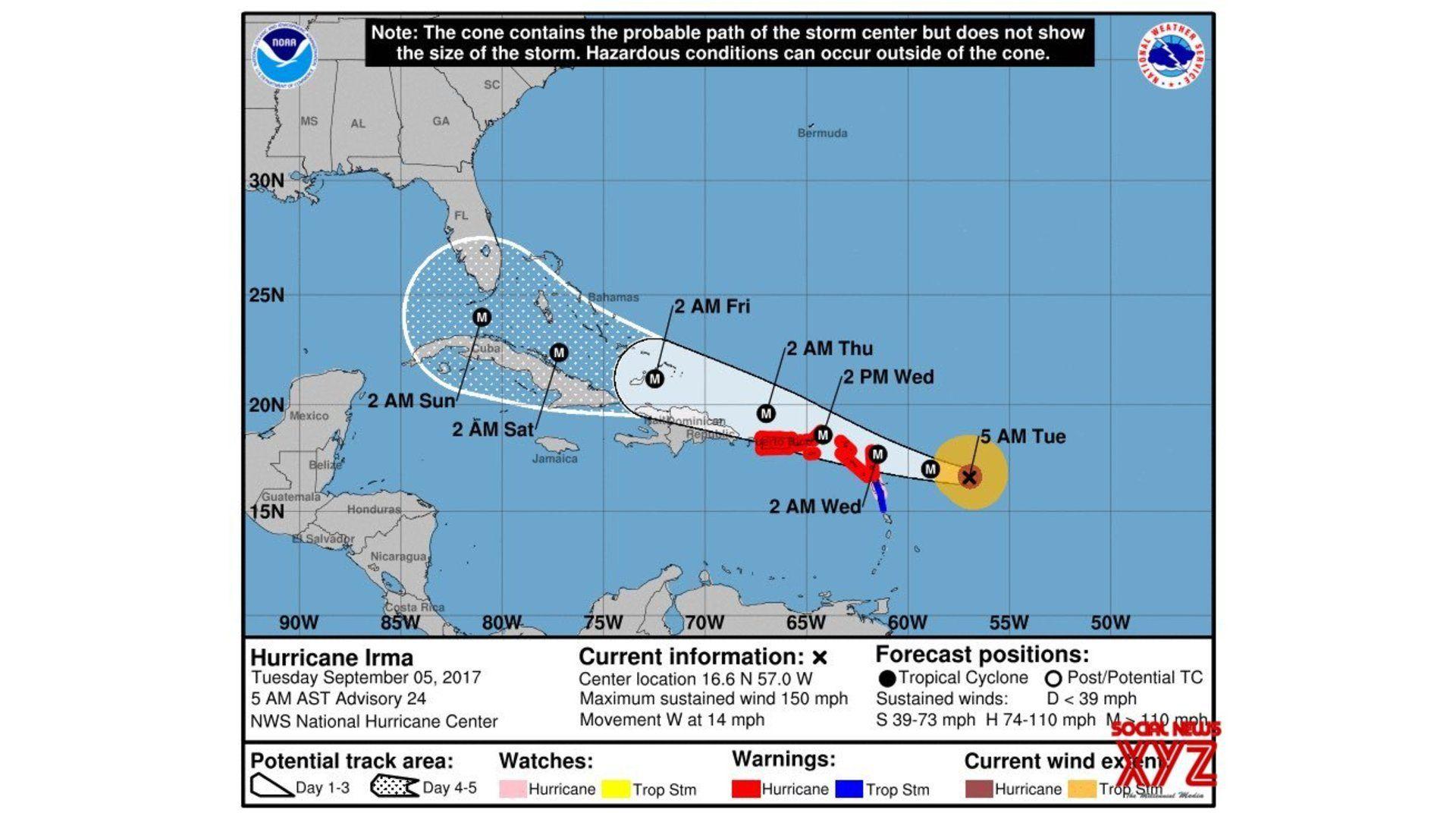 Hurricane Irma Approaches Turks And Caicos Islands Threatens Florida Hurricane National Hurricane Center Storm Surge