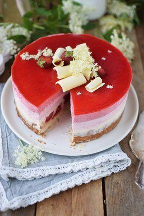 Erdbeer Holunderblueten Joghurt Torte - Strawberry Elderflower Yogurt Cake | Das…