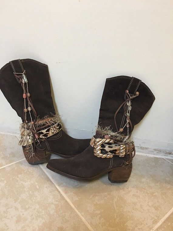a1b664a42b6 Tall Dark Brown Cowgirl Boots - Boho Style- Animal print - soo ...