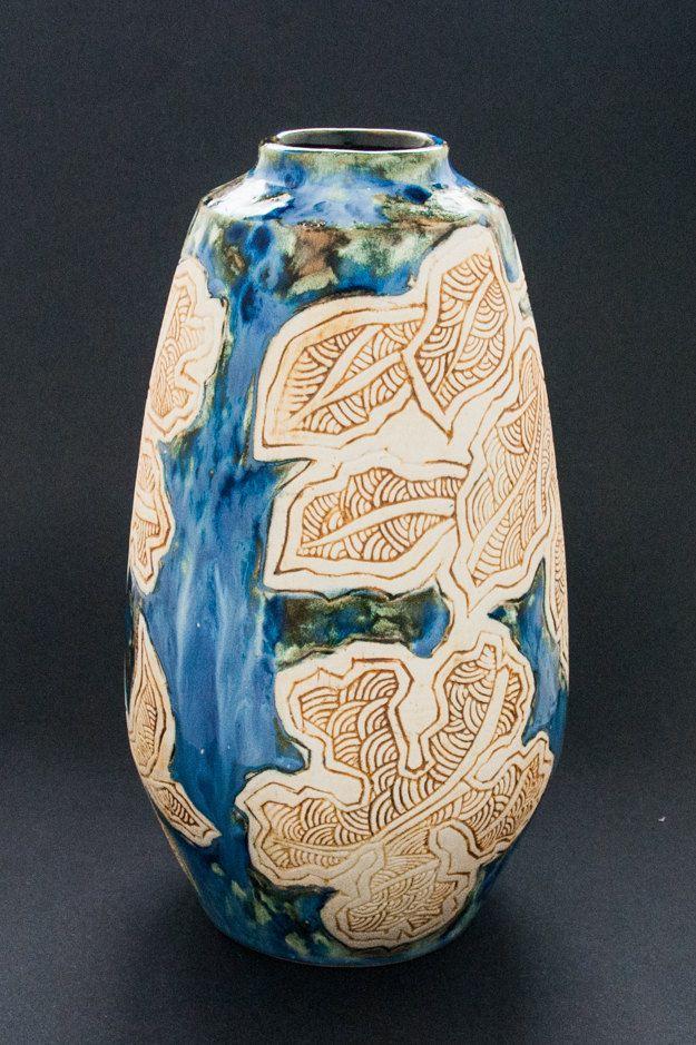 Vase Ceramic Vase Pottery Vase Asian Pottery Hand Made Ceramics And Pottery Tenmoku Vase Tenmoku Pottery Blue W Leaf Pottery Vase Ceramic Vase Pottery