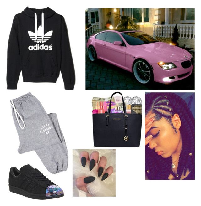 """""""👌🏽Lazy but Still on Point💯"""" by that-style-tho ❤ liked on Polyvore featuring adidas"""