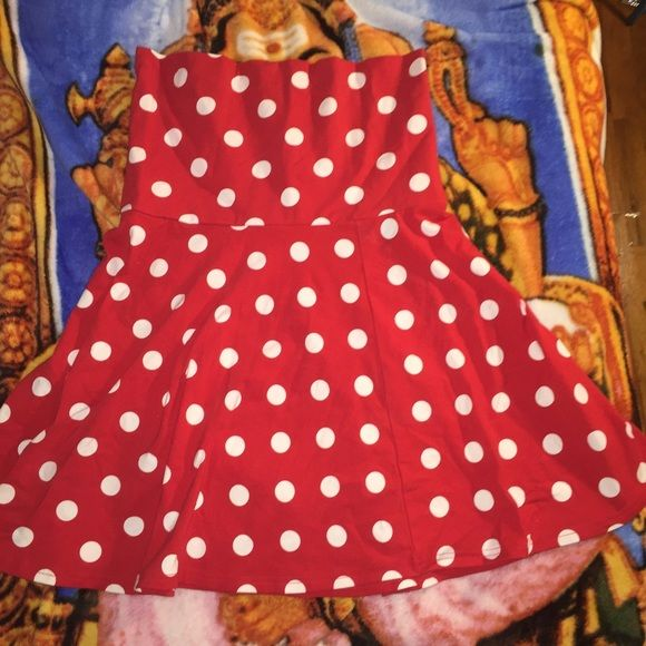 Convertible tube dress! Super cute red polka dot tube dress that can be converted into a skater skirt! Never worn with tags ! Dresses Strapless