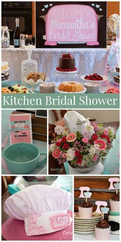 a kitchen themed bridal shower with recipe card invitations and flowers aprons colanders and spoons used for decor see more party planning ideas at