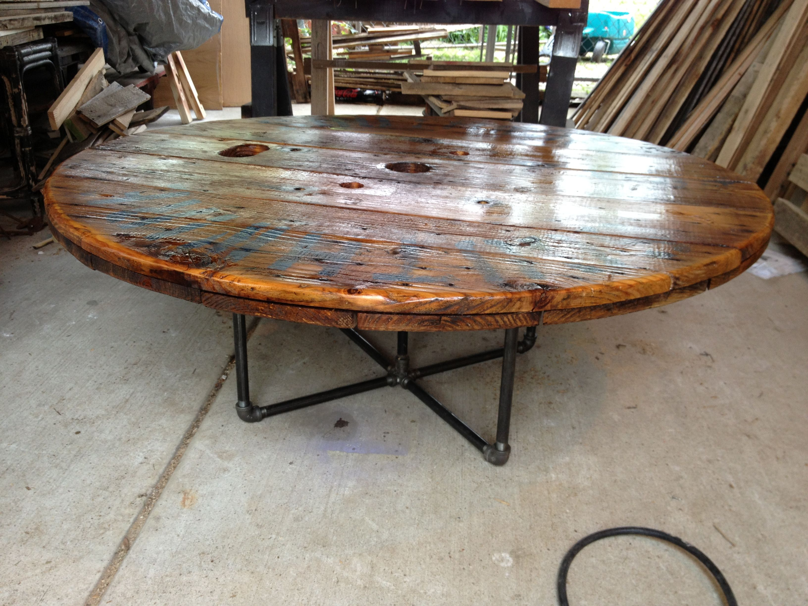 Coffee Table made from an old cable spool!! | Our stuff ...