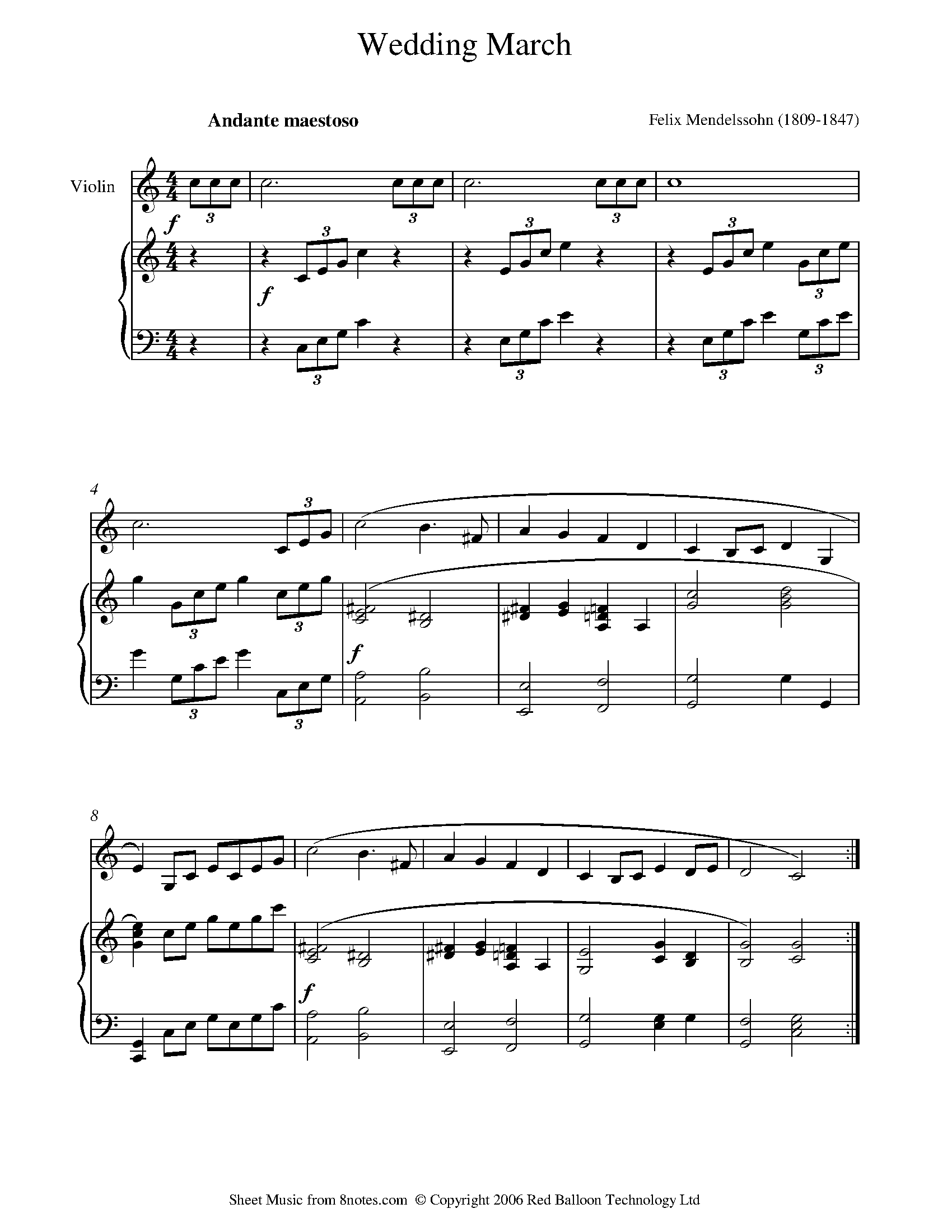Mendelssohn Wedding March From Midsummer Nights Dream Sheet Music For Violin 8notes Com Sheet Music Free Violin Sheet Music Violin