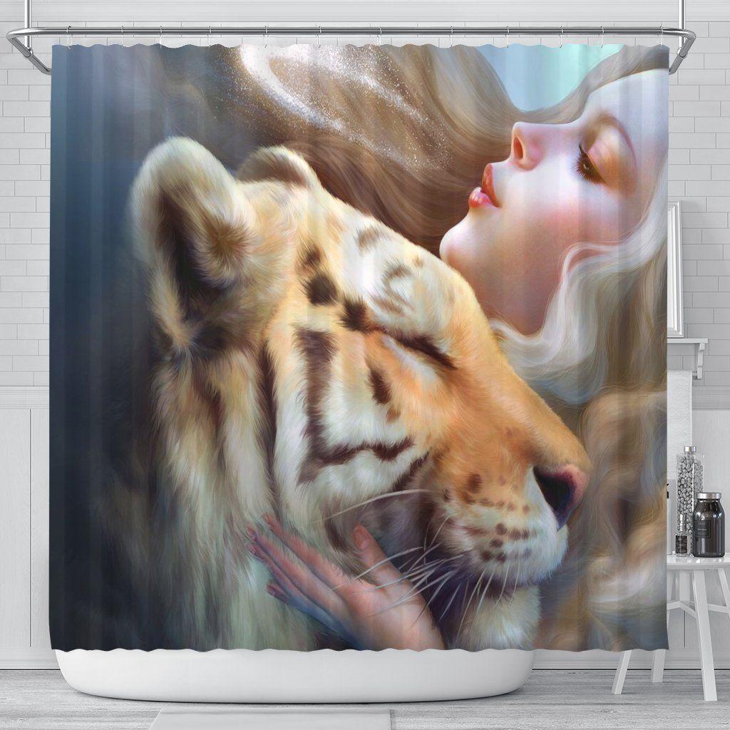 Lion Kiss Shower Curtain Curtains Shower Curtain Shower