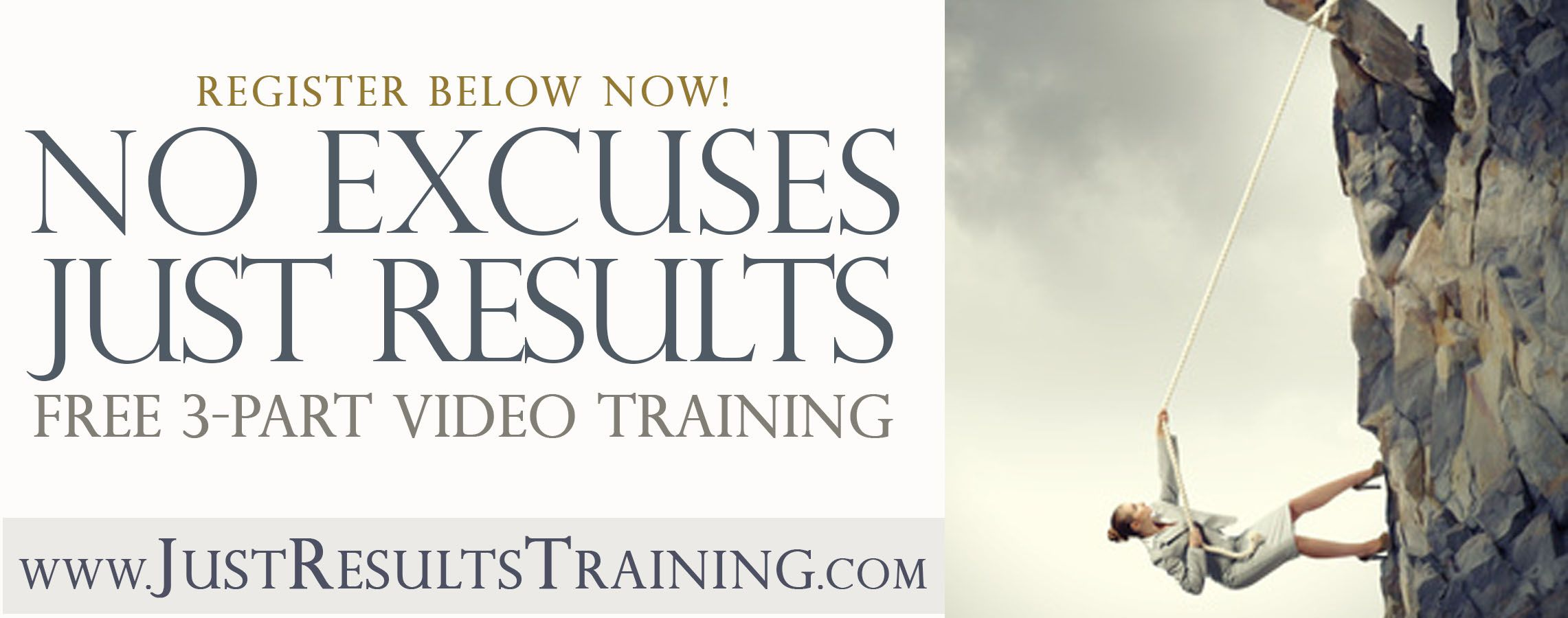 """Did you register yet, for my """"No Excuses Just Results""""? A FREE 3-part video training, so you can shine in what you do and get more amazing results! If you're tired of hearing your own excuses about how you can't do, be, or have more…. and reach your really BIG goals… this free video training is for you. Click here to register to access: www.JustResultsTraining.com"""