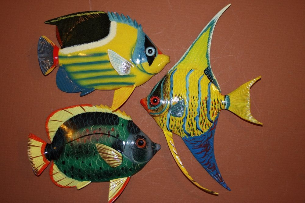 (3), COLORFUL TROPICAL BATHROOM DECOR, TROPICAL FISH WALL HANGING, CORAL  REEF