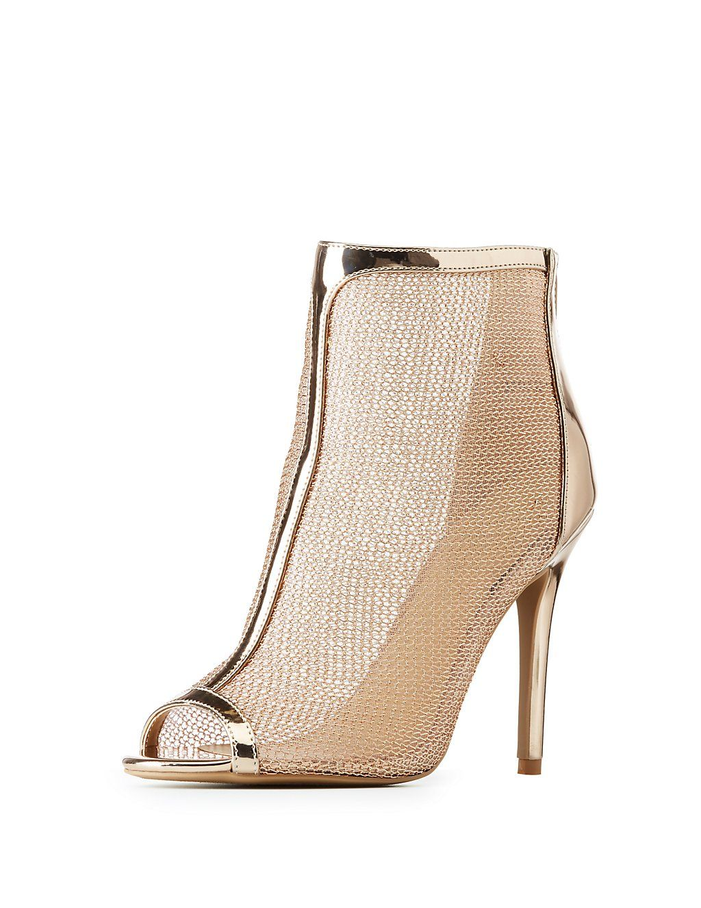 040708e072d3f3 Mesh creates the coolest paneling to these metallic patent faux leather  booties