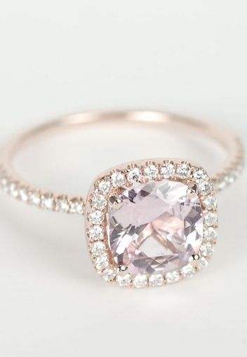 peach pink cushion sapphire diamond halo engagement ring aka my future wedding ring - Colored Wedding Rings