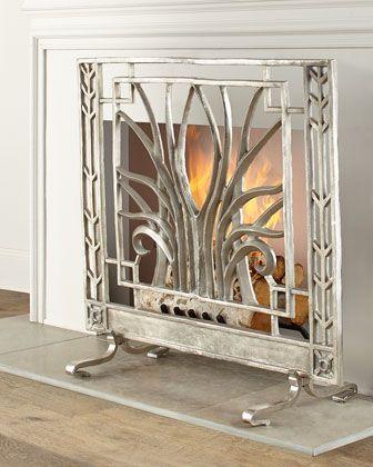 John Richard Collection Stylized Nickel Fireplace Screen
