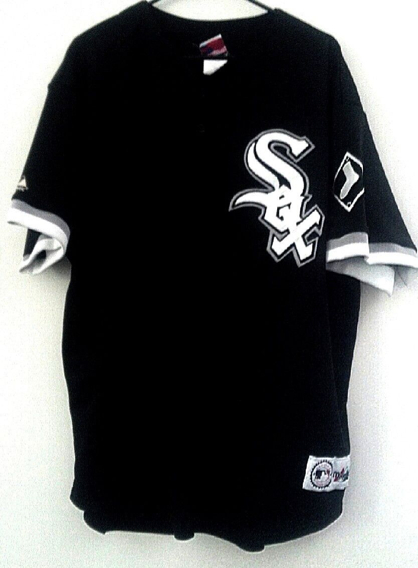 abb22bf280c A Great Throw-Back Chicago White Sox Game Style Jersey by Majestic. Black  Fabric with White Tackle Twill Logo Front Left Chest and Sleeve. Size  2X