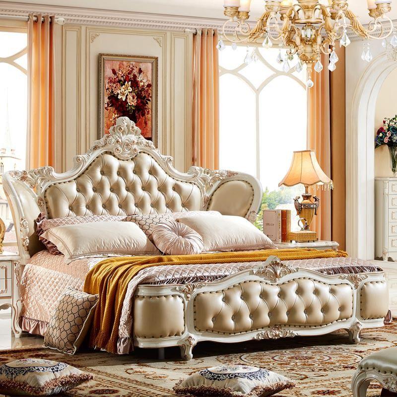 Di fascia alta in legno massello letto in pelle Barocco camera da ...