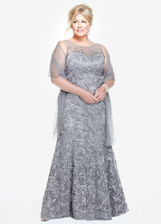 Sleeveless Illusion Neckline Soutache Dress - David\'s Bridal ...