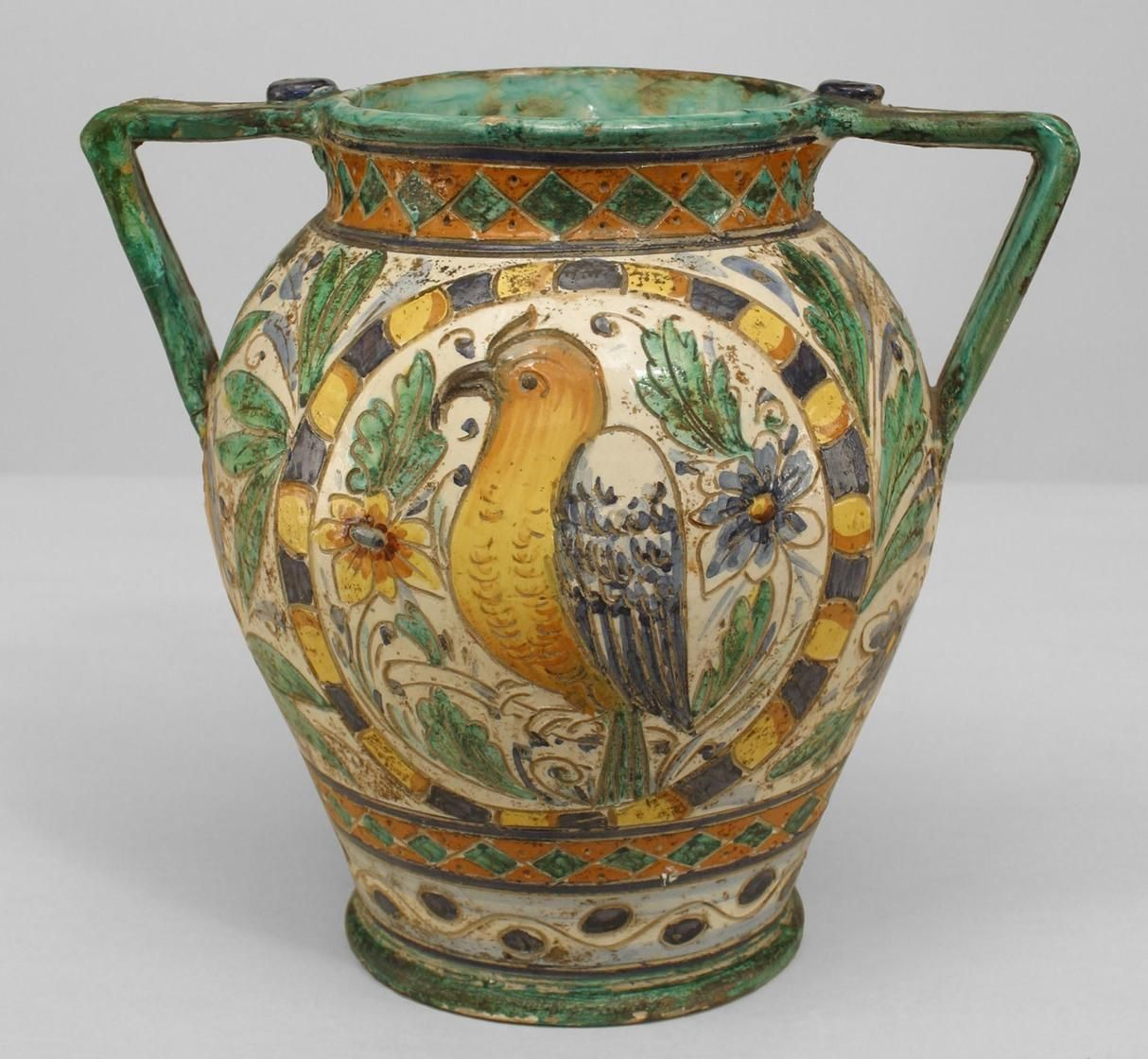 Httpnewelproductpid14843 vases amphoras italy italian neo classic antique majolica vase with side handles and decorated with blue yellow and green flowers fruit and bird reviewsmspy