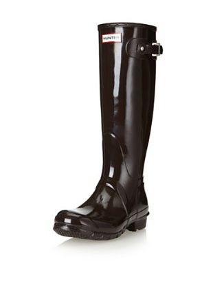 Hunter Boots Women's Glossy Tall Rainboot (Bitter Chocolate)