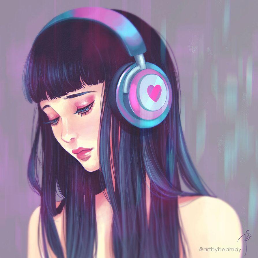 Heart Headphones By Beamay Deviantart Com On Deviantart Music Drawings Digital Art Girl Girl With Headphones
