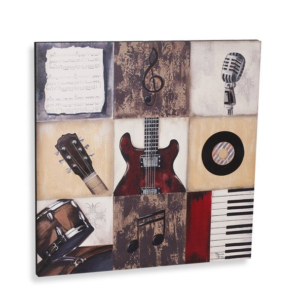 Rock The Music Printed Canvas Wall Art Music Themed Rooms Music Print Canvas Wall Art