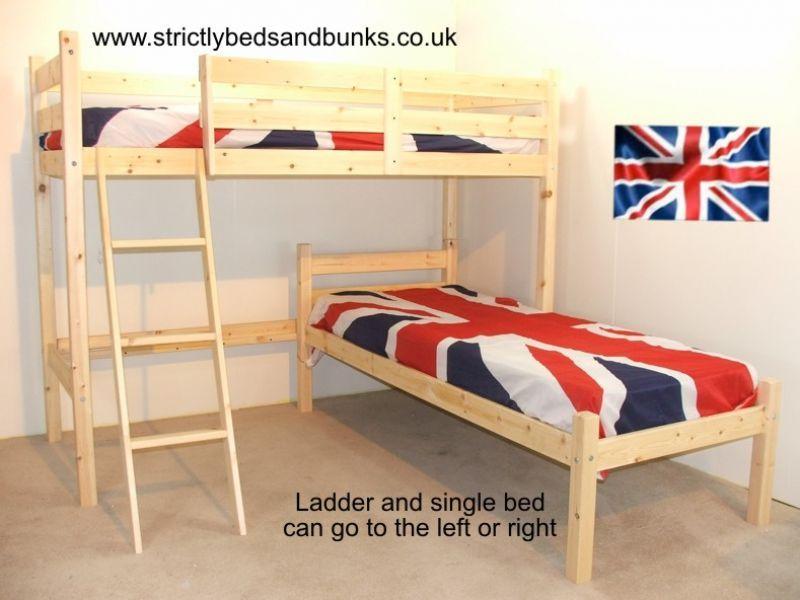 Offset Bunk Beds mandolin 3ft natural l shaped pine bunkbed - good space saver. put