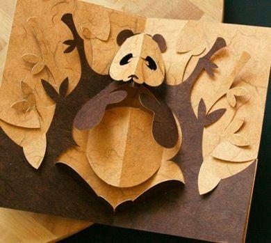 Cute Kirigami Panda Card Pop Up Art Pop Up Cards Paper Crafts