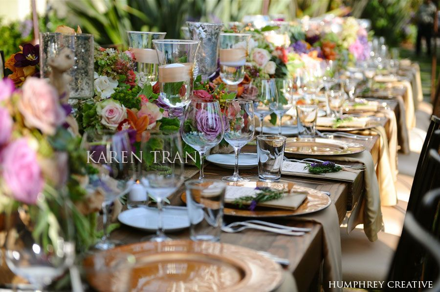 Rustic Napa Valley wedding. Wedding table centerpiece settings. Long rustic wooden tables lined with lush hydrangeas garden roses interesting gre\u2026 & Rustic Napa Valley wedding. Wedding table centerpiece settings ...