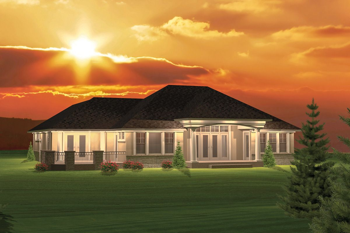 Plan 89825ah 2 Bedroom Hip Roof Ranch Home Plan Ranch Style House Plans House Roof Hip Roof