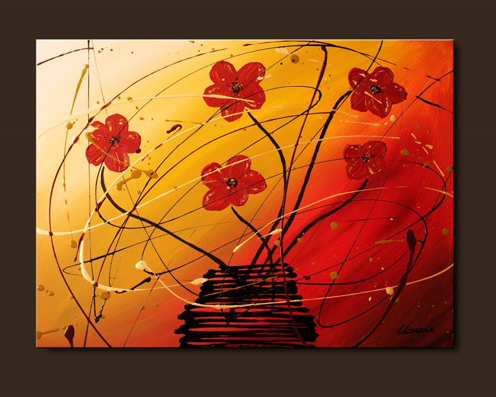 abstract paintings | Flowers Painting-Dripping Flowers-Abstract ...
