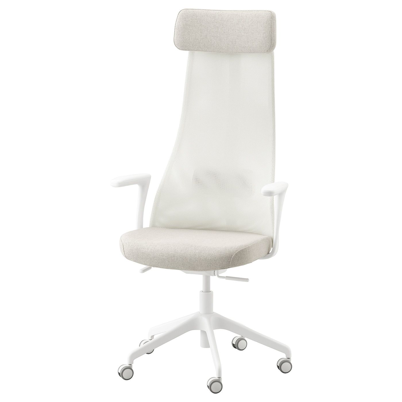 Jarvfjallet Gunnared Beige White Office Chair With Armrests Ikea In 2020 Office Chair White Office Chair Work Space Chair