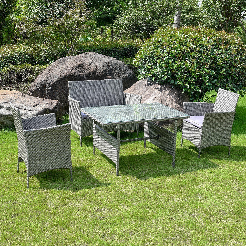 Excellent Toulon Rattan Garden Furniture Set 4 Piece 083910 Garden Home Interior And Landscaping Ferensignezvosmurscom