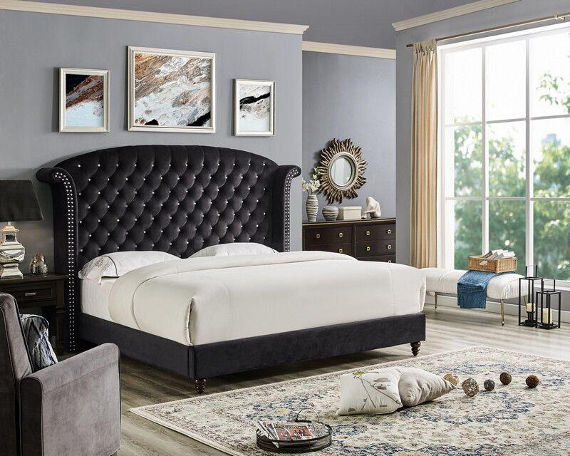 Oah D3030 Sterling Black Velvet Like Fabric Queen Tufted Bed Frame