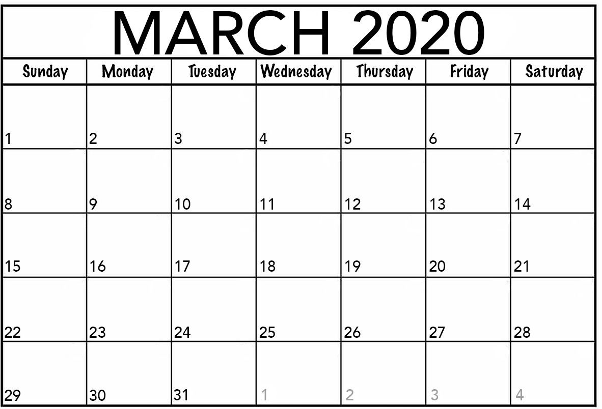 Blank Monthly Calendar March 2020 Printable Calendar March Blank Monthly Calendar Blank Calendar Pages