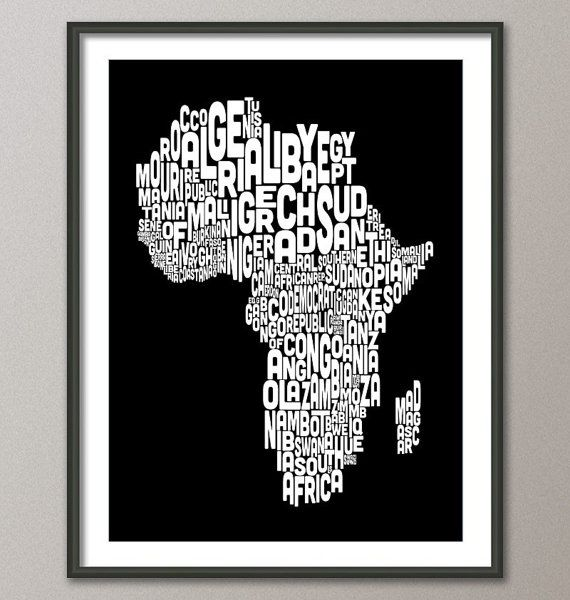 Map of africa map typography text art print aesthetics map of africa map text art print inch 774 color by artpause gumiabroncs Images