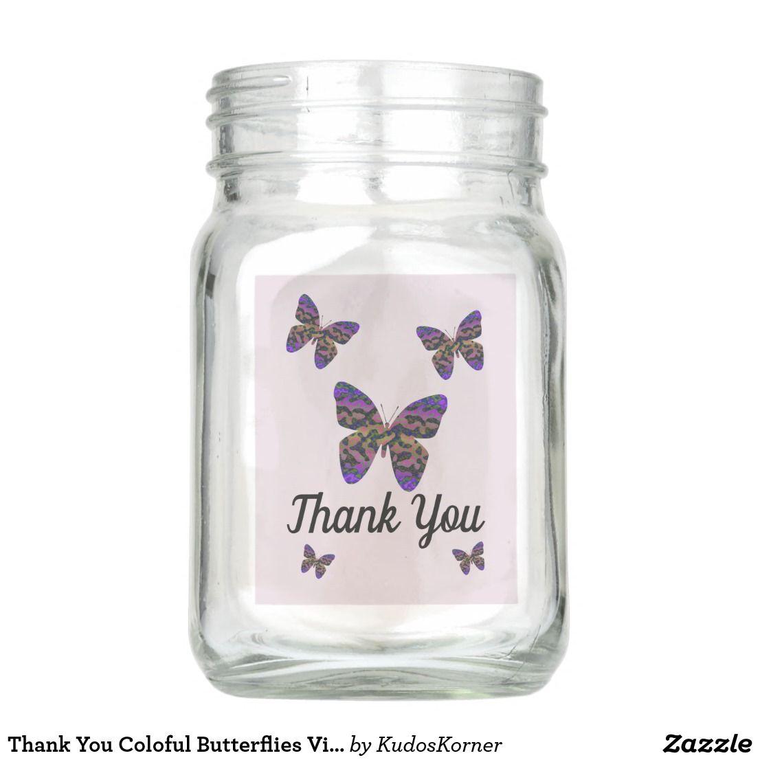 Thank You Coloful Butterflies Vibrant Appreciation Mason Jar