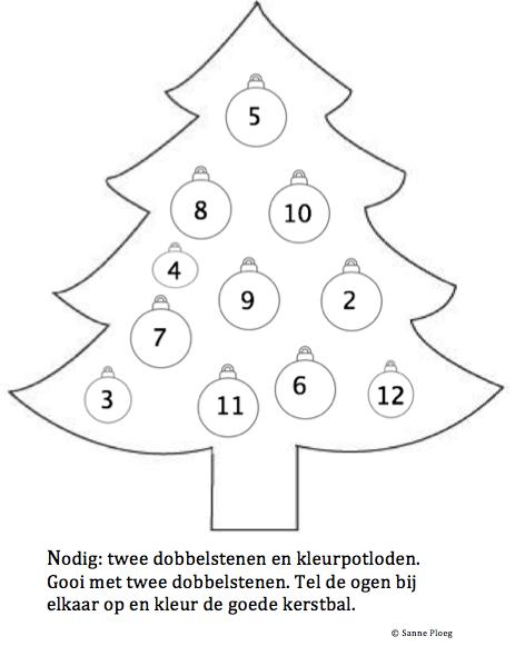 rekenspel groep 3 kerst met twee dobbelstenen kleur het