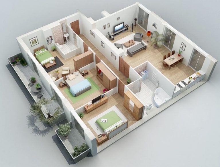Disenos De Apartamentos De 3 Habitaciones Y Mas De 100m2 Planos De Casas Medidas Planos De Casas Diseno Casas Pequenas