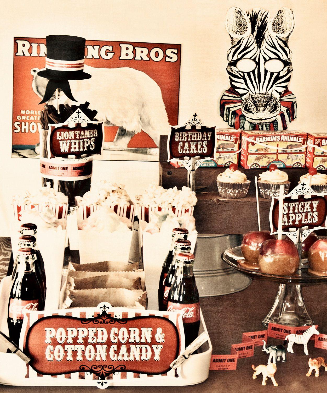 FULL PARTY SET - Vintage Circus Carnival Printable Birthday Party Dessert Table Decor. $25.00, via Etsy.