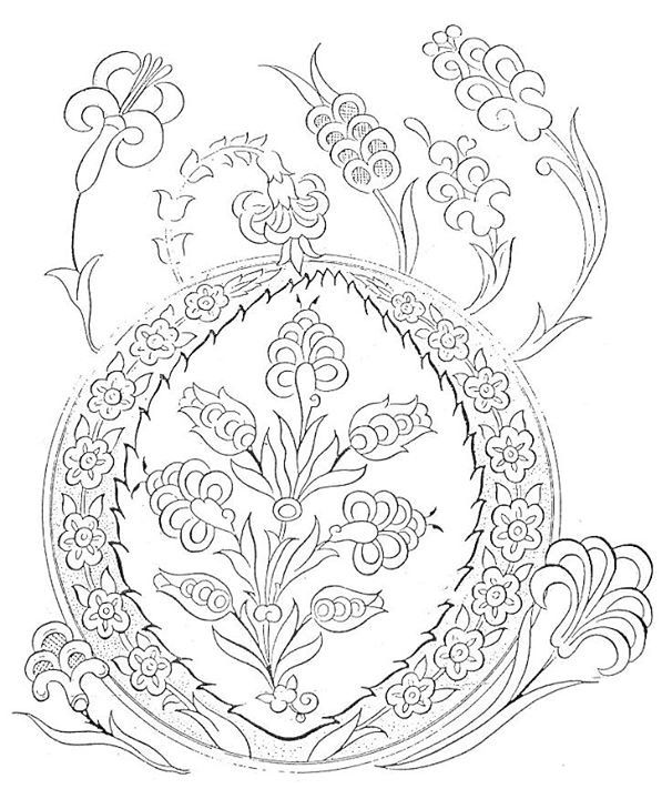Sümbül 3c9 çini Desenler Embroidery Patterns Embroidery