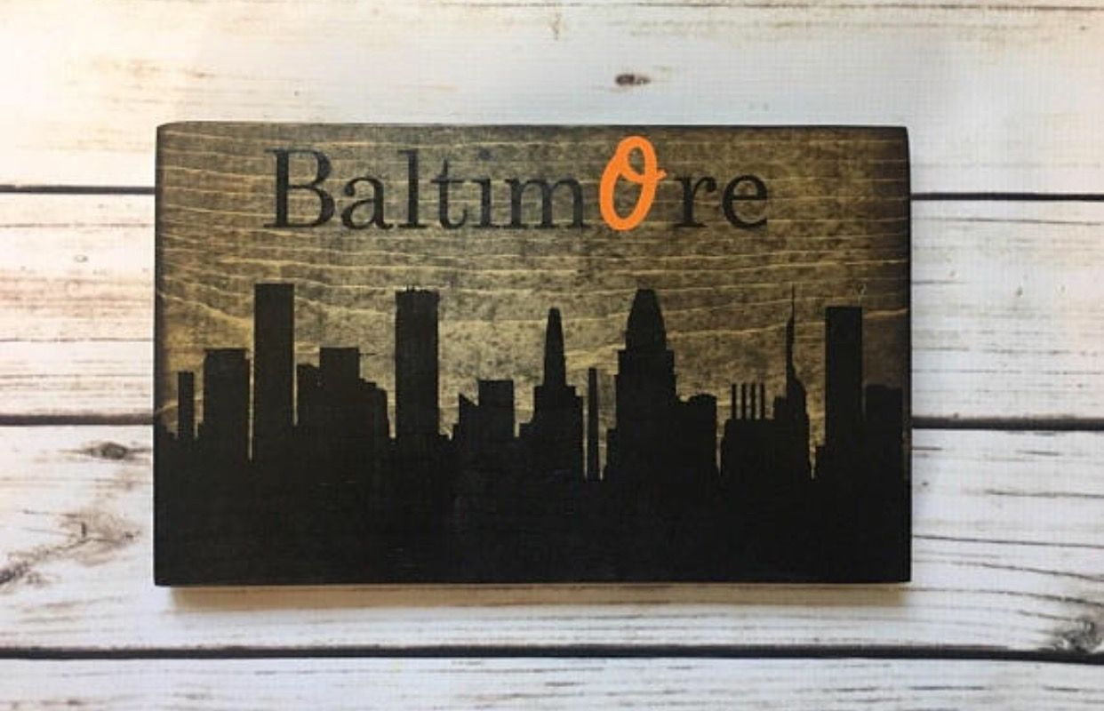Diy home decor wood  Baltimore Skyline Maryland pride Rustic home decor Wooden home