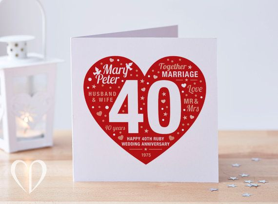 Personalised 40th ruby anniversary card ruby card 40 anniversary