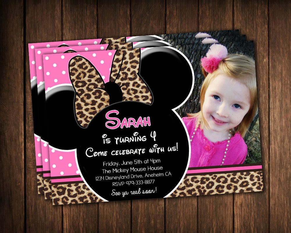 Pink Minnie Mouse Leopard Invitations with photo - Birthday ...