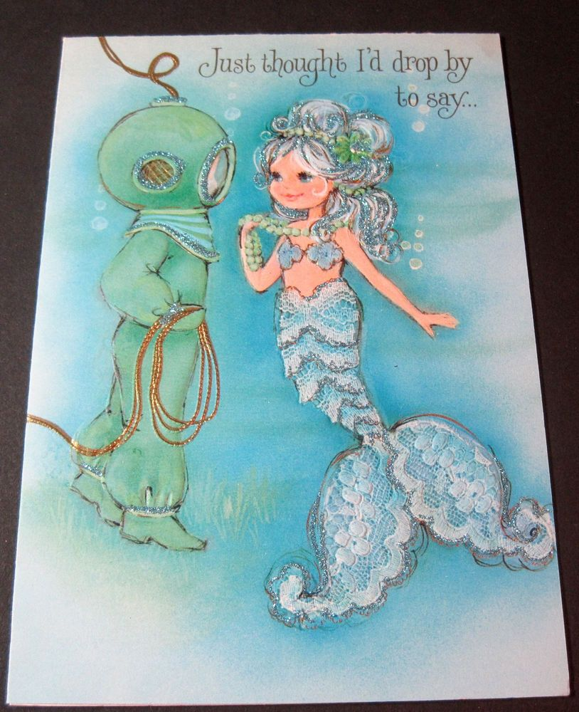 Used Vintage Greeting Card Hallmark Charmers Mermaid With Diver