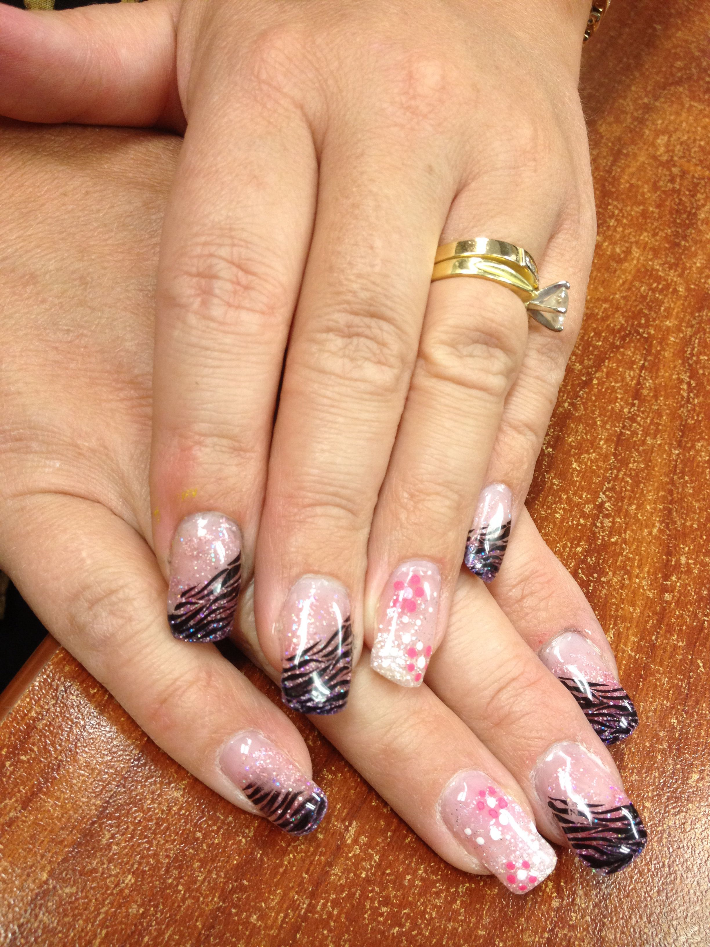 Fuzion gel nails with zebra and flowers | Gel nails | Pinterest