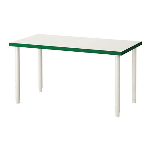 "IKEA - LINNMON / OLOV, Table, white/green/white, , The table can be moved across the floor without worry because the plastic feet protect against scratching.You can mount the table top at a height that suits you, since the legs are adjustable between 23⅝-35⅜""."