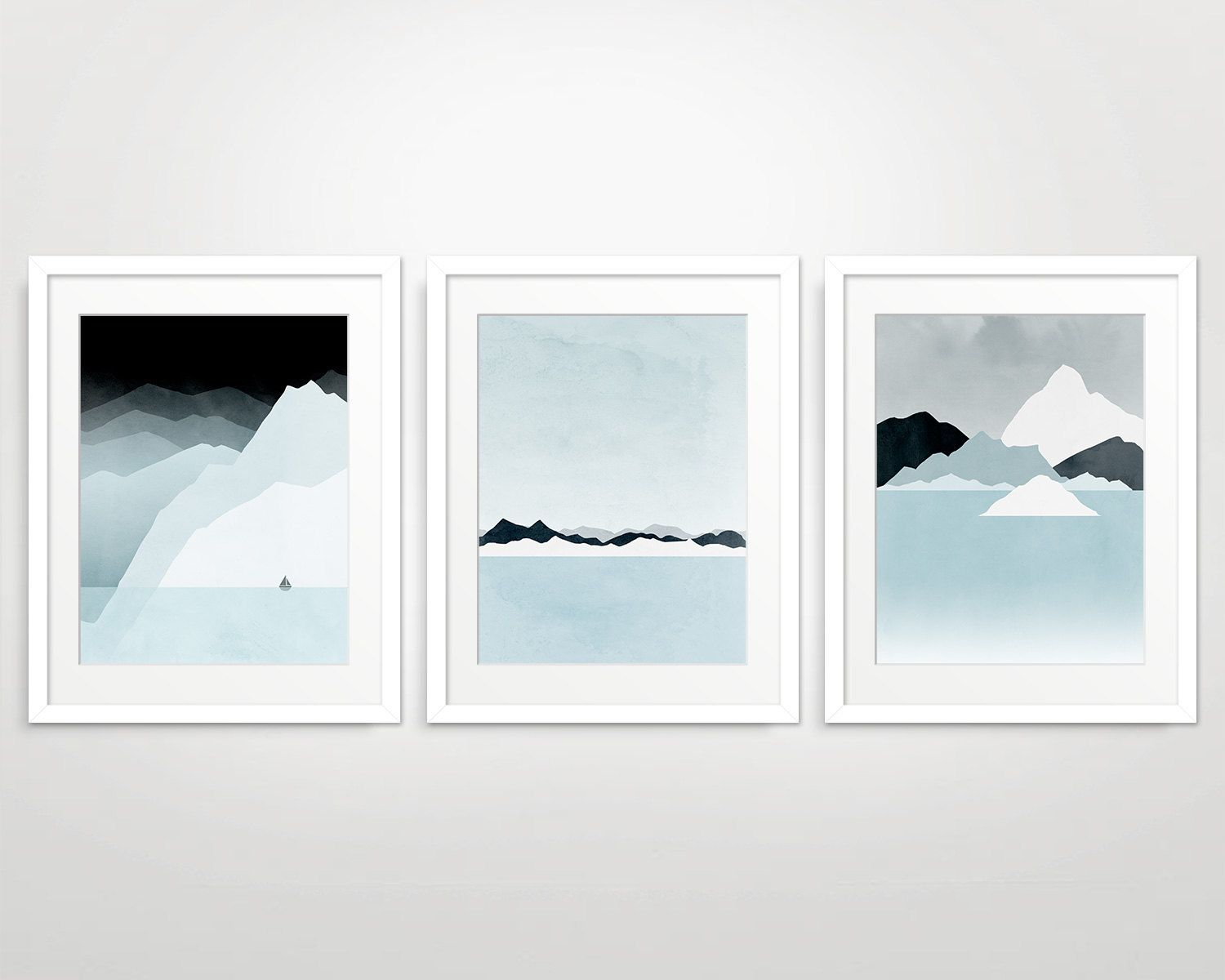 Wall Art Set of 3 Prints, Mountain Print, Modern Art Prints ...