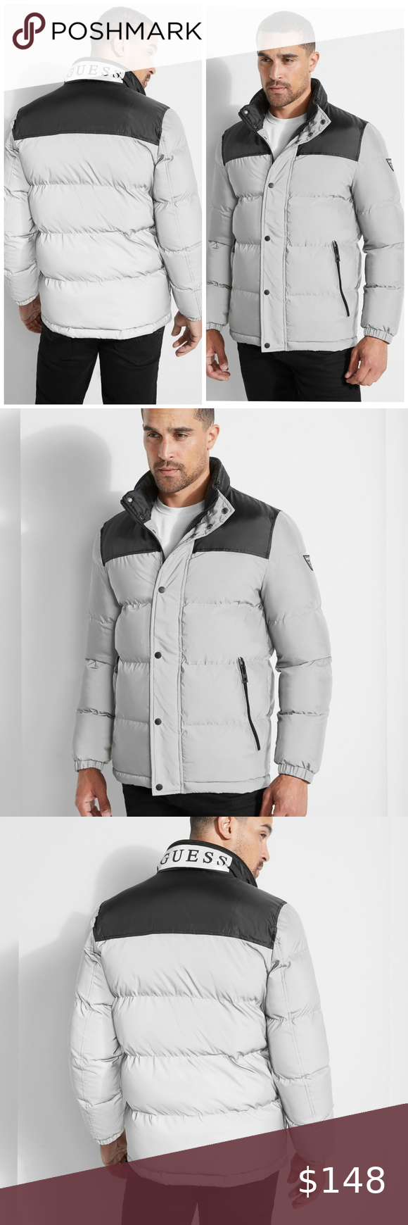 New Guess Discovery Reflective Puffer Jacket Sz L In 2020 Jackets Puffer Jackets Puffer [ 1740 x 580 Pixel ]