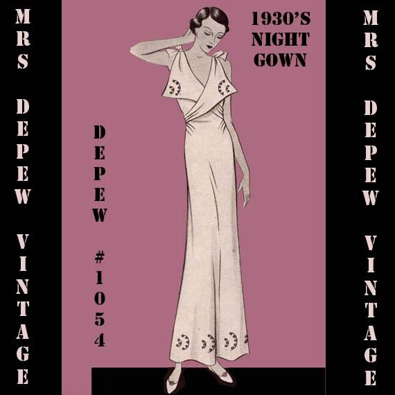 Vintage Sewing Pattern 1930's French Night Gown or by Mrsdepew, $7.50