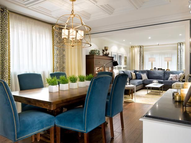 ... Hardwoods Floors, Create A Traditional Backdrop For This Eclectic Dining  Room, Which Combines A Rustic Wood Table With Plush Blue Dining Room Chairs.