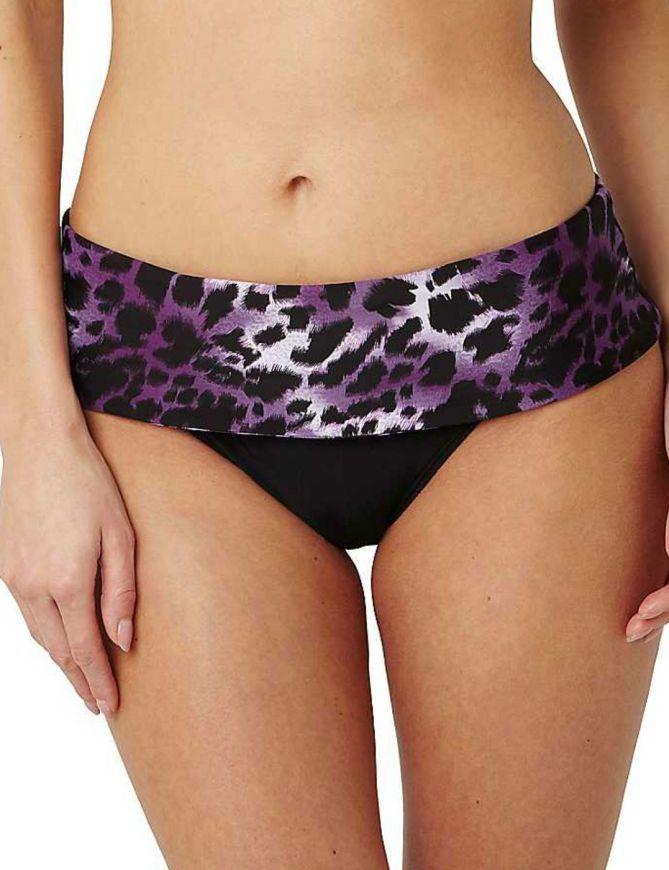 Panache SW0746 Swimwear Tallulah Bikini Fold Waist Pant in Purple Animal Print